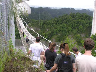 Students in this year's Single Dish Summer School at Arecibo set out across the catwalk