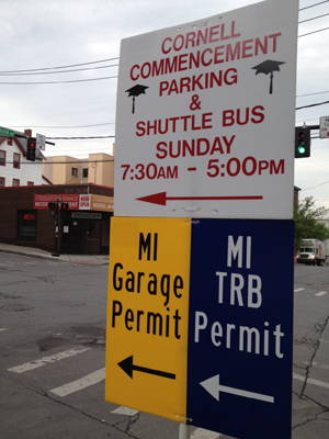 Sign for Cornell commencement parking.