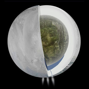 cross-sectional depiction of Saturn's moon Enceladus