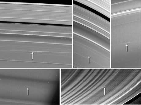 Images of material ejected from impacts into Saturn's rings.