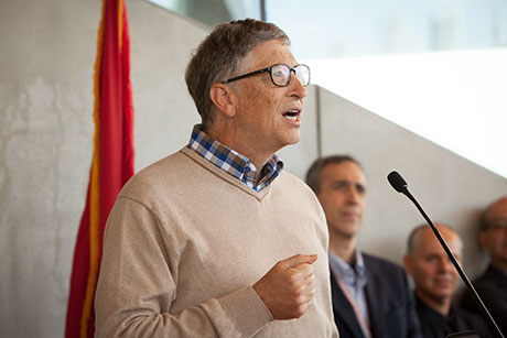 Bill Gates speaks at the dedication