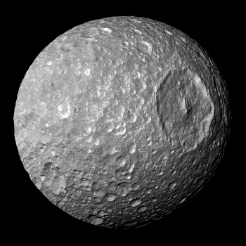 Mimas, the closest moon belonging to Saturn