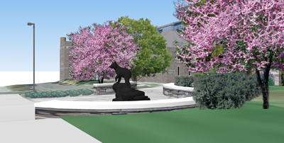 Rendering shows Touchdown statue at corner of Campus Road and Garden Avenue
