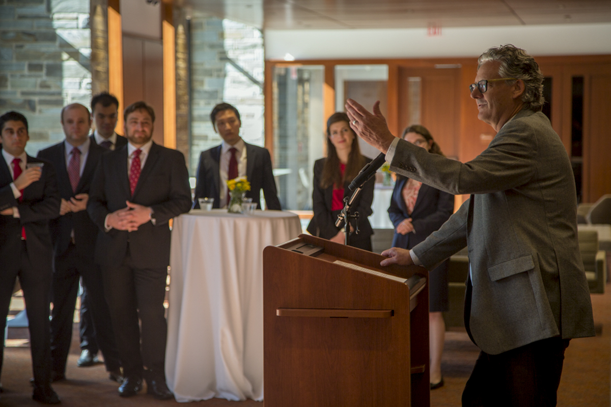 John Blume addresses law students during the Clerkship Celebration in Myron Taylor Hall, April 26.