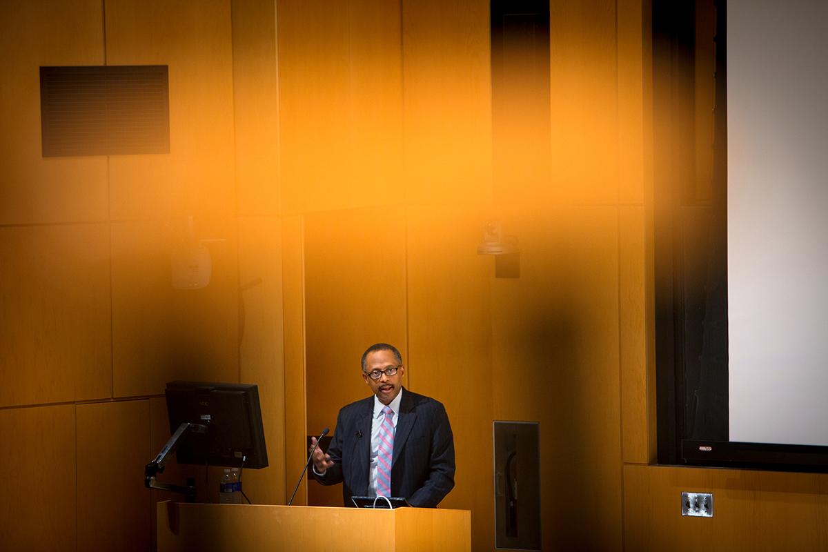 Earl Lewis, president of the Andrew W. Mellon Foundation, speaks in Klarman Hall, April 11.