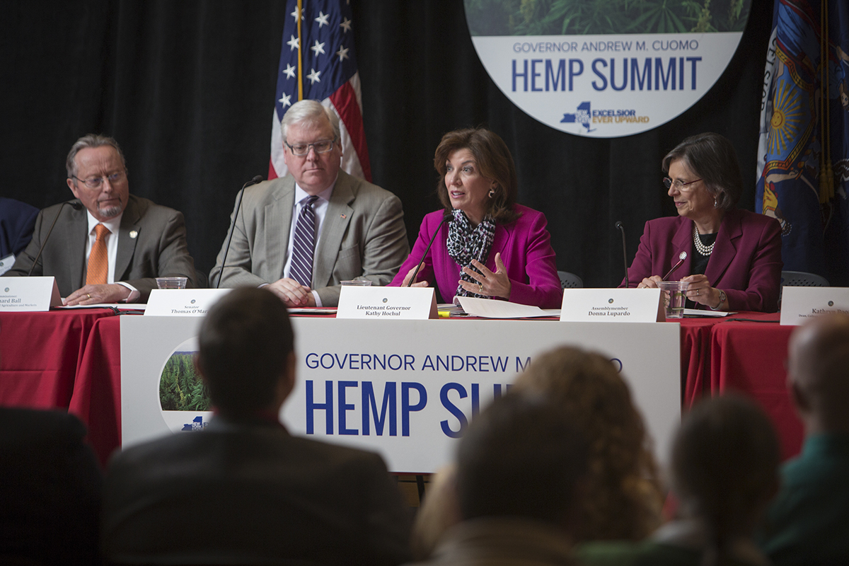 New York Lt. Gov. Kathy Hochul, second from right, speaks at the Industrial Hemp Summit on April 18 at Cornell. Others on the panel included, from left: Richard A. Ball, state agriculture commissioner; N.Y. State Sen. Tom O'Mara; and N.Y. State Assemblywoman Donna Lupardo.