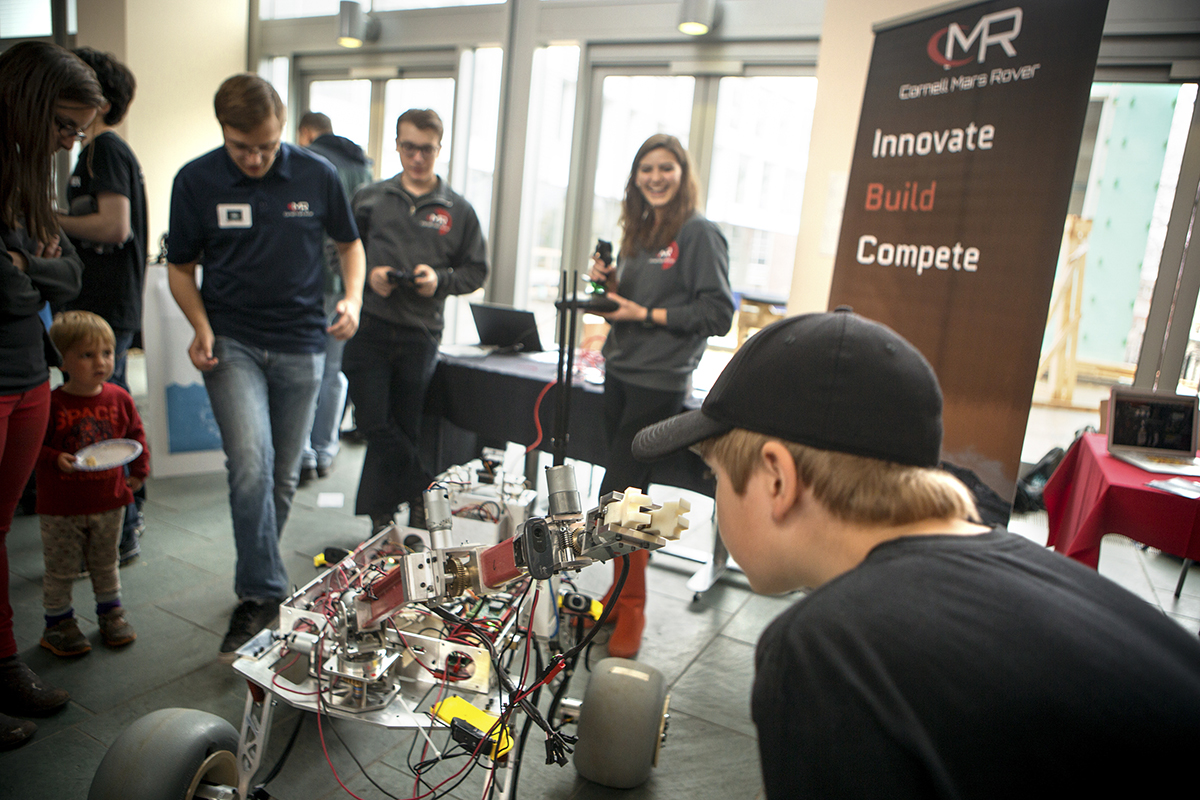 Students exhibit their ideas and prototypes for games, robotics, autonomous vehicles, mobile phone apps and more at BOOM (Bits On Our Minds), the premier annual showcase for Cornell student projects in cutting-edge digital technology in Duffield Hall Atrium, April 19.