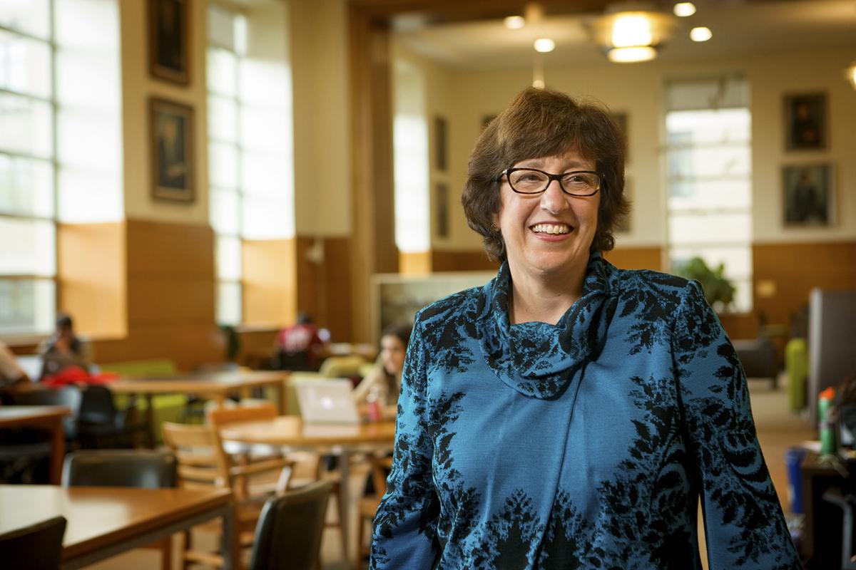 President Martha E. Pollack visits Mann Library, April 20.