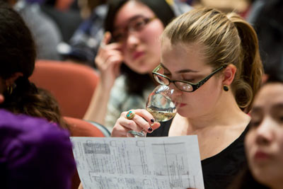 student in Introduction to Wines