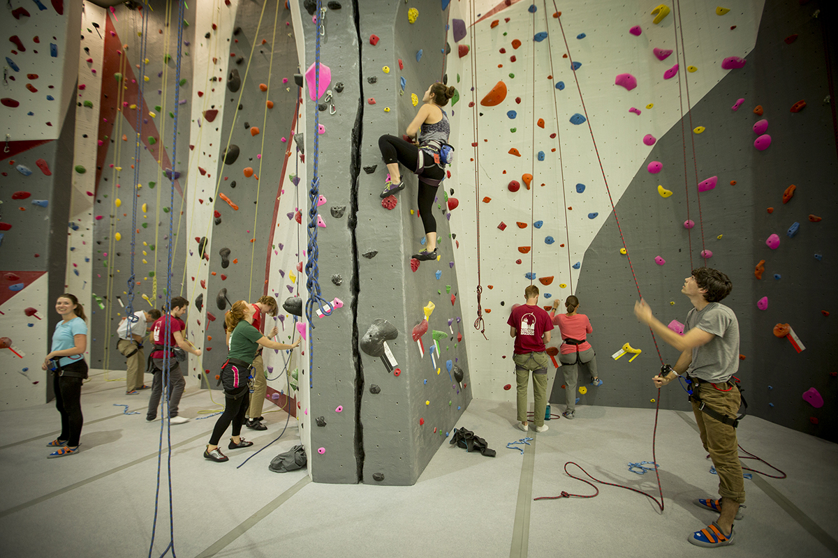 Woman climbing Lindseth wall