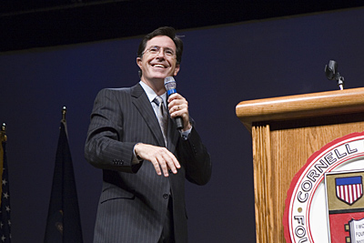 Stephen Colbert at lectern