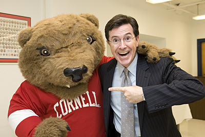 Colbert with Big Red Bear