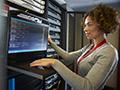 woman at computer server