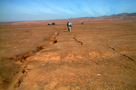 Cracks produced during the 1995 Antofagasta earthquake in northern Chile.