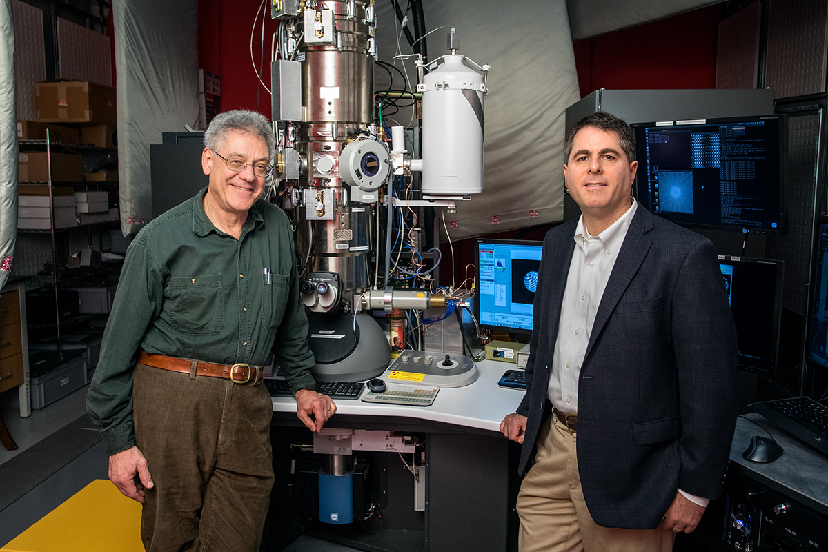 Sol Gruner, left, professor of physics, and David Muller, professor of applied and engineering physics.