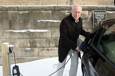 Michael Kotlikoff with electric car