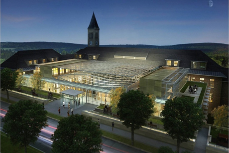 An architects' rendering of the Klarman Hall atrium at night.