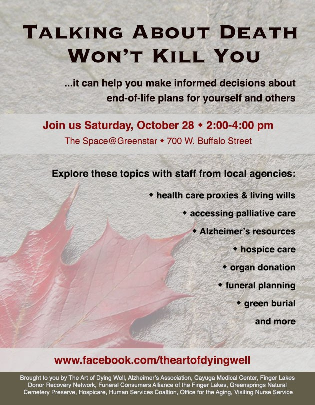 Talking about death won't kill you forum poster