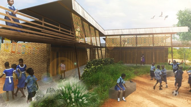 Cornell University Sustainable Design group offer a rendering of the Voices of African Mothers Girls' Academy