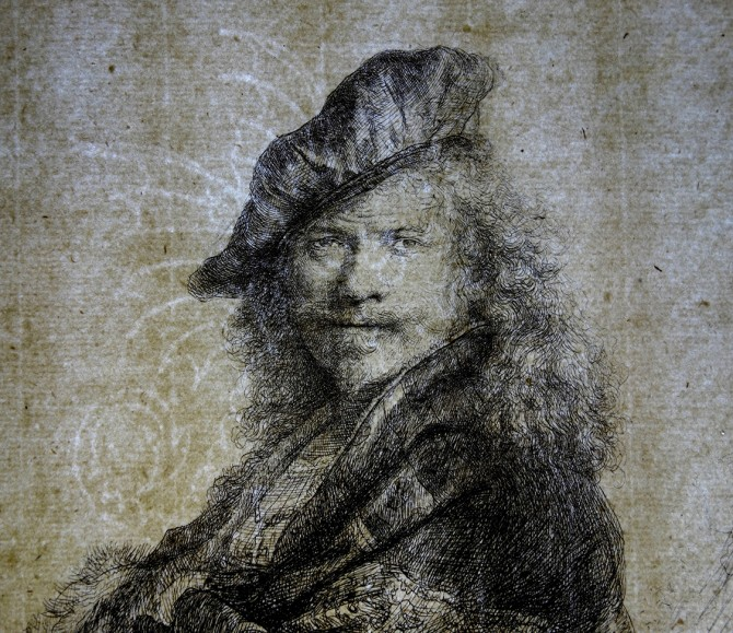 "photograph shows a large Basilisk watermark in Rembrandt's ""Self-Portrait Leaning on a Stone Sill"" (1639)"
