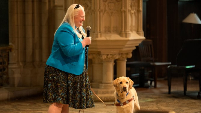 Liz O'Dell Wehling and her guide dog Yale, at Soup & Hope Jan. 18.
