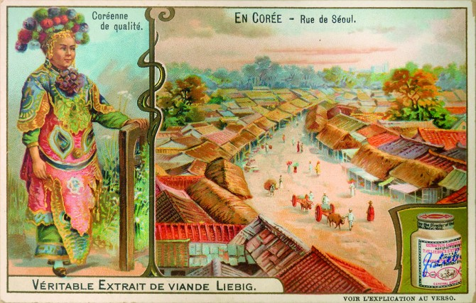 Trade card with color images of Korea, advertising Liebig's Extract of Meat, 1904