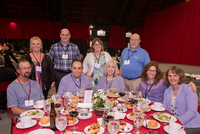 Staff members from the College of Veterinary Medicine and guests celebrate at the 63rd Service Recognition Dinner June 5.