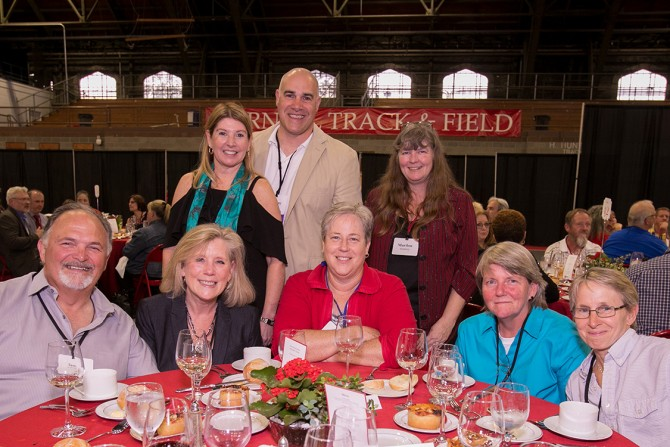 Staff members from Cornell University Police and guests celebrate at the 63rd Service Recognition Dinner June 5.