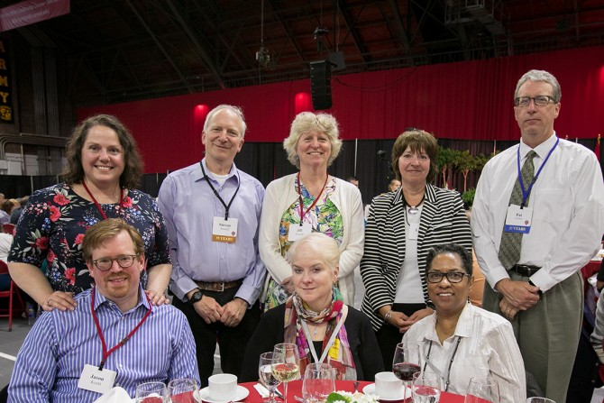 Staff members from the College of Engineering and guests celebrate at the 63rd Service Recognition Dinner June 5.