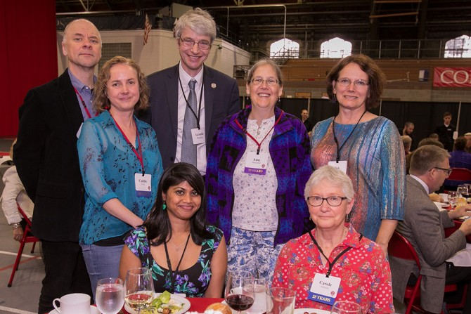 Staff members from the Cornell University Library and guests celebrate at the 63rd Service Recognition Dinner June 5.