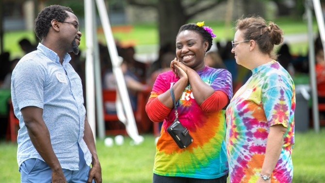 Chad Coates, Keane Leitch and Jennifer Wurster enjoy the 2018 Arts and Sciences picnic May 31.