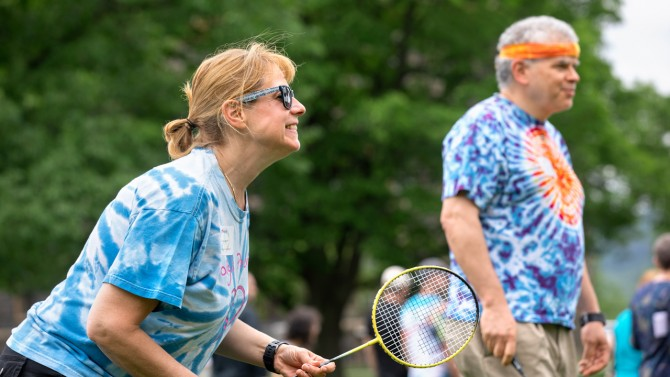 Tracy Davenport enjoys a game of badminton.