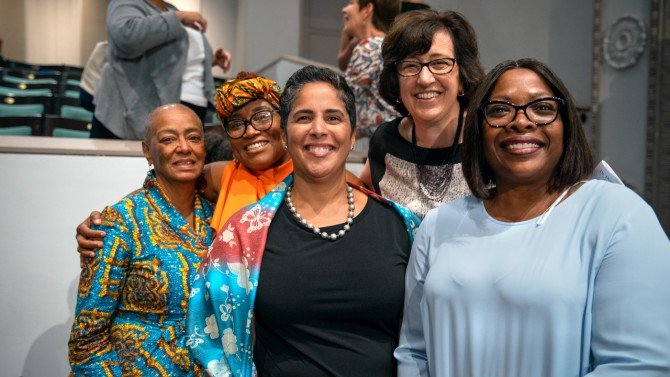 From left, friend Aljosie Aldrich Harding and niece Gwen Hinton Perry with Ithaca College President Shirley Collado, Cornell President Martha E. Pollack and Tompkins Cortland Community College President Orinthia Montague