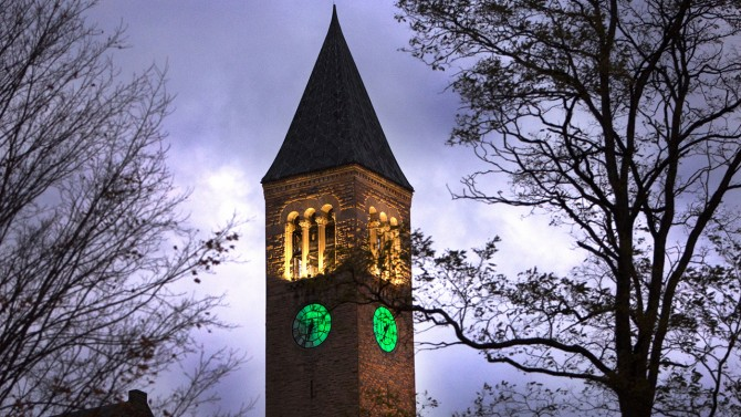 McGraw Tower lit green