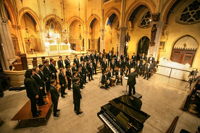 Members of the Cornell University Glee Club perform at the Church of St. Mary the Virgin
