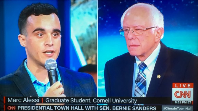 Marc Allesi and Bernie Sanders