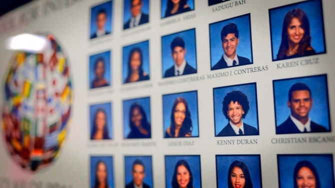 Senior Portrait Hangs on School Wall
