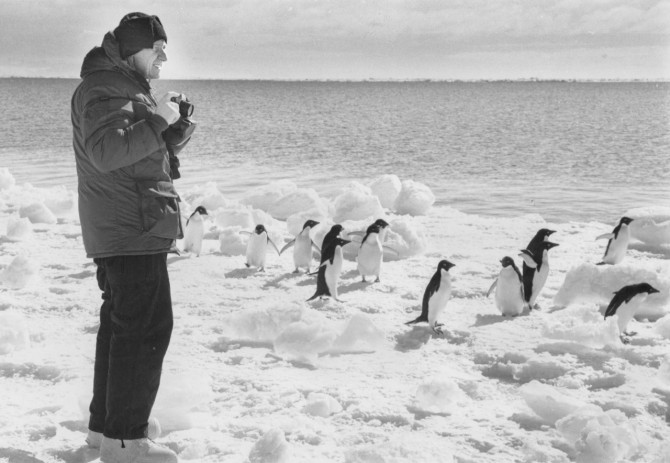 A trained geologist, Rhodes visits Antarctica in 1988