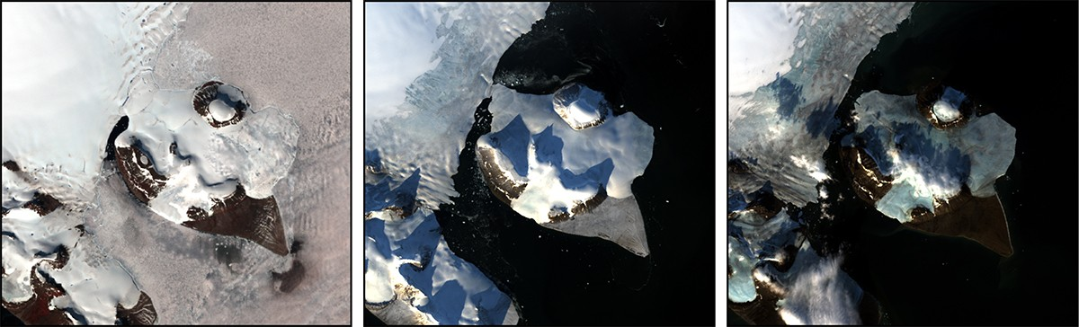 Na Ilha de Franz Josef Land, uma imagem do Landsat 7, à esquerda, de 17 de julho de 2002, mostra uma forte cobertura de gelo em terra e no mar ao redor. A imagem do Landsat 8, no meio, de 23 de setembro de 2013, revela muito menos a cobertura de gelo, enquanto uma imagem do Landsat 8, à direita, de 12 de setembro de 2016, ficou com menos cobertura de geleiras.