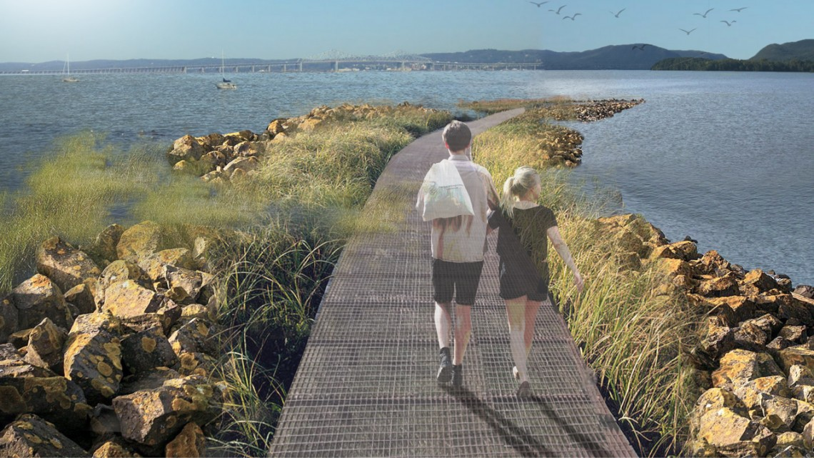 Provided A pedestrian and walking path atop breakwaters, shown in this rendering, could encourage wetland growth and protect Piermont from storm debris.