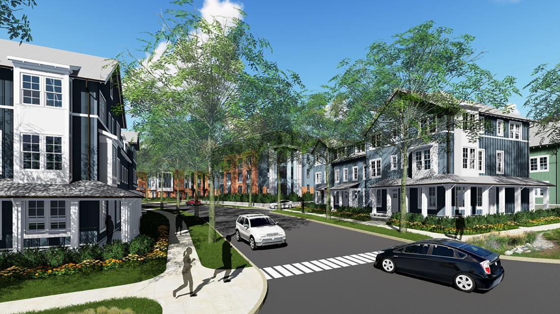 Torti Gallas/Provided An architectural rendering of the Maplewood Apartments, now under construction, for the entrance on Mitchell Street.