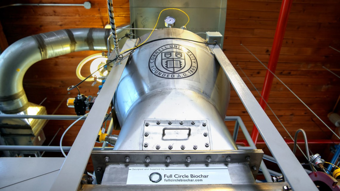 Cornell's new pyrolysis kiln opened May 24 at a celebration in the Leland Laboratory on campus.