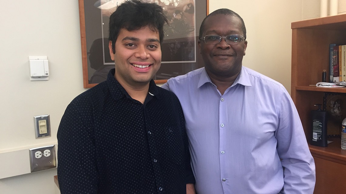 Snehashis Choudhury, Ph.D. '18, left, and Lynden Archer in Archer's Kimball Hall office.