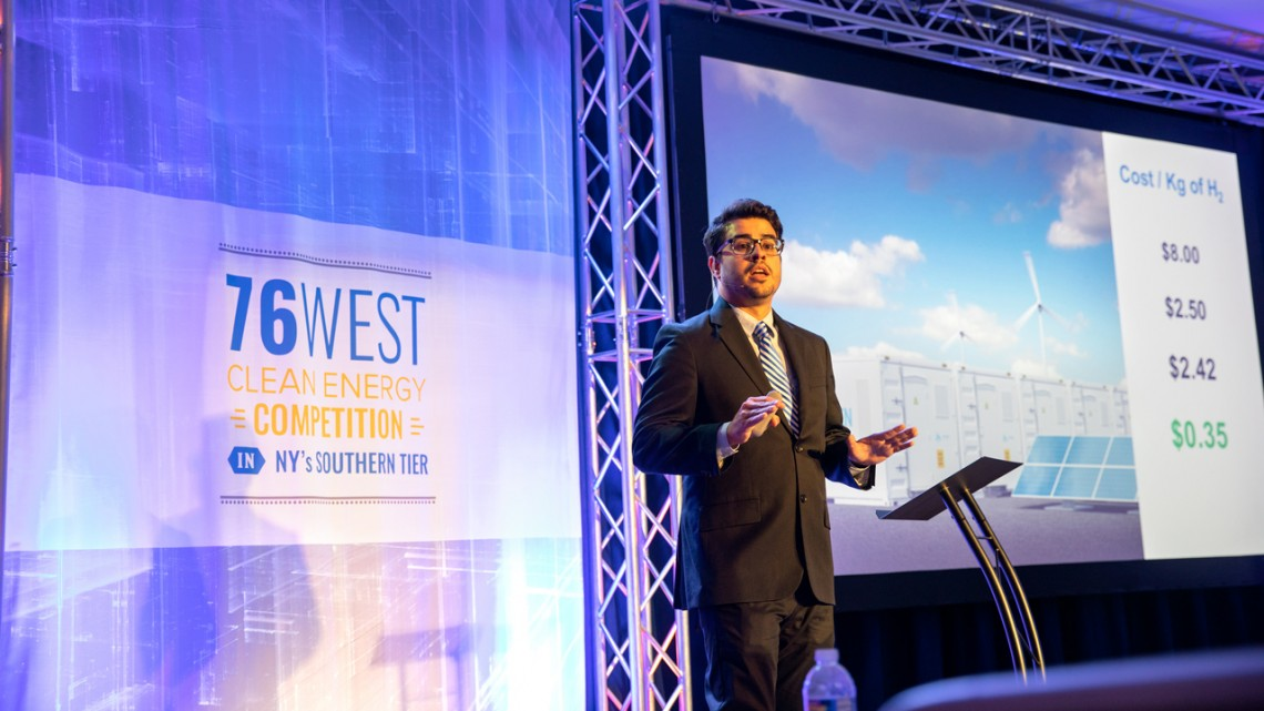 Lindsay France/University Photography Gabriel G. Rodr�guez-Calero, Ph.D. �14, pitches Ecolectro, a startup he co-founded, at the 76West Clean Energy Competition.
