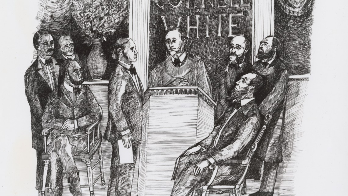 This artists' conception of the inauguration of Andrew Dickson White as Cornell's first president