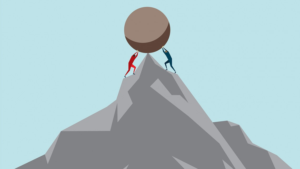 graphic of two individuals holding up a boulder