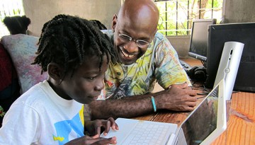 Michel DeGraff in Matènwa, La Gonave, Haiti, working with students