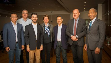 From left: Chris Xu, Joseph Fetcho, Edward Boyden, Catherine Dulac, Stephen Mong, Thomas Jessell and Lance Collins