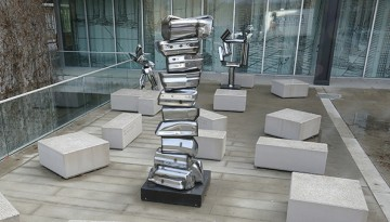 three Seley sculptures installed on Sibley Plaza