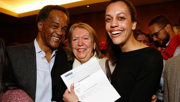 Cecilia Nicol, along with her parents, celebrate her match to NewYork-Presbyterian/Weill Cornell Medical Center in primary care
